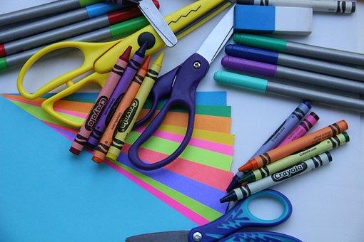 School Supplies, Art, Crafts, Crayons, Scissors