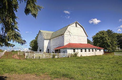 Barn, Rustic, Barns, White, Ohio, Digital Art, Rural