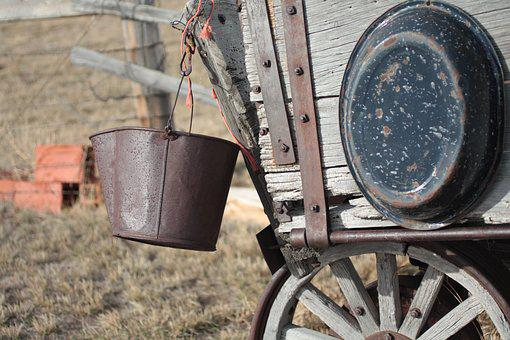 Old, Antique, Western, Vintage, Pail, Wagon