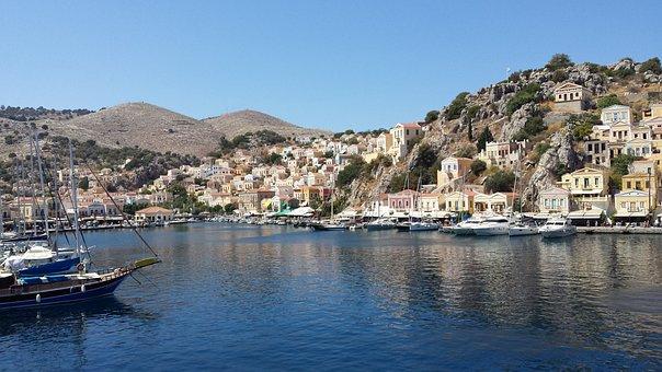 Symi, Island, Sea, Tourism, Water, View, Architecture