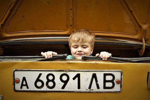 Kid, Retro Car, Vintage, Yellow, Automobile, Vehicle