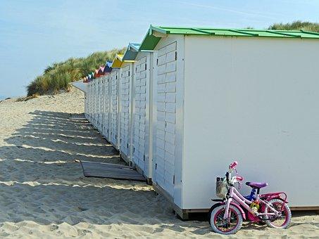Fun On The Beach, Sand, Dunes, Locker, Child's Bike