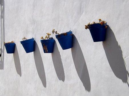 Pots, Garden, Flower, Wall, Gardening, Plant, Nature