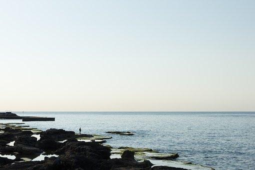 Fisherman, Shore, Coast, Sea, Mediterranean, Landscape