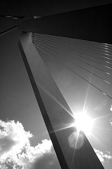Abstract, Bridge, Lines, Cables, Sky, Architecture