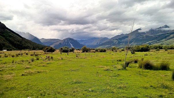 Landscape, Mountains, Natural, Green, New Zealand
