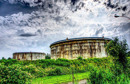 Tank Farm, Tank, Oil, Fuel, Old, Leave, Lost Place