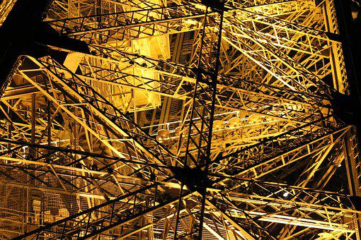 Paris, Eiffel Tower, Night, Lights, Ladder