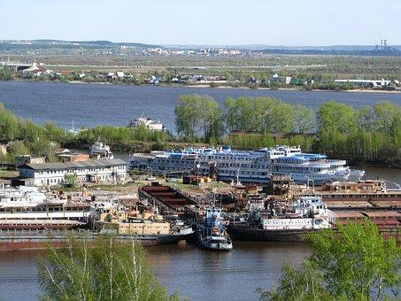 R, Kama, Krasavinsky Bridge, Perm Krai, Sky, Spring