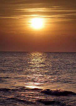 Sea, Sunset, Evening, The Sun, Beach, West, Clouds