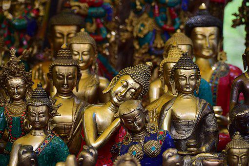 Statue, Buddha, Show Piece, Color, Metal, Idols