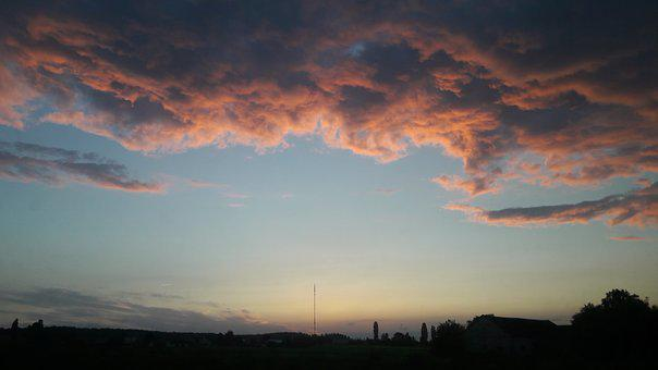 Sky, Clouds, West, Sunset, Evening, Weather