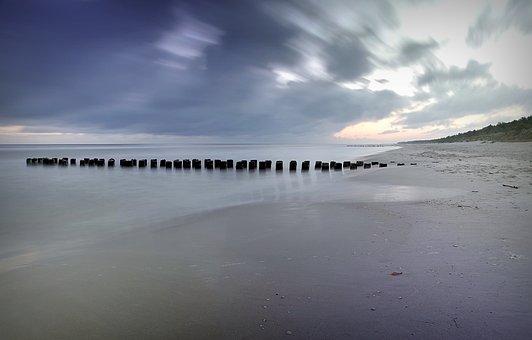 Breakwater, Sea, Beach, The Coast, Sky, The Baltic Sea