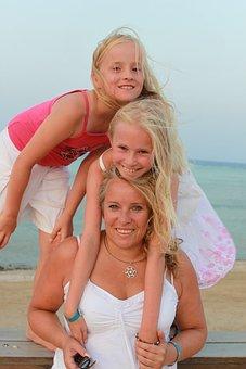 Sea, Beach, Holiday, Family, Happy, Children, Joy, Luck