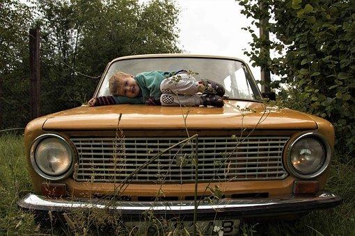 Kid, Yellow Car, Vehicle, Travel, Vintage