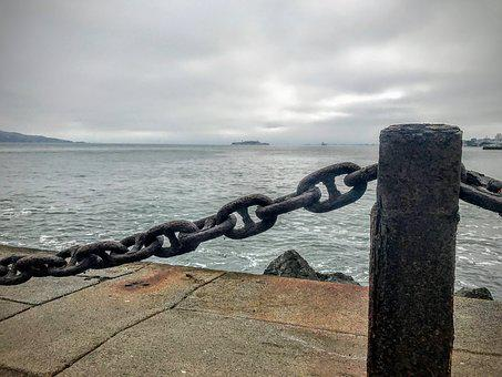 Fort Point, Water, San Francisco, Chain, Rocks, Clouds
