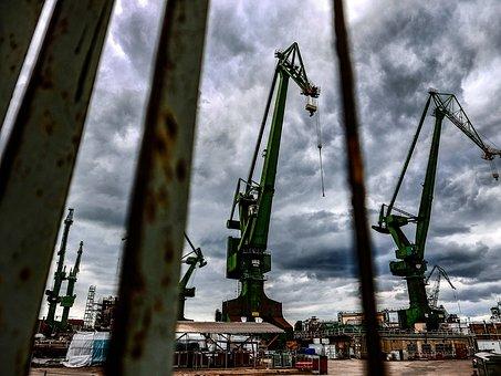 Cranes, Boatyard, Gdańsk, Ships, Sky, The Waterfront