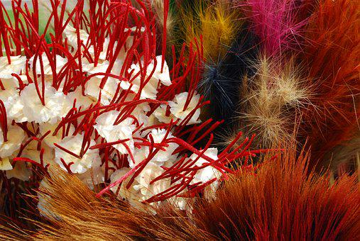 Twigs, Feathers, Handmade, Colored