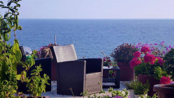 Greek, Mediterranean, Corfu, Flowers, Inviting, Coast