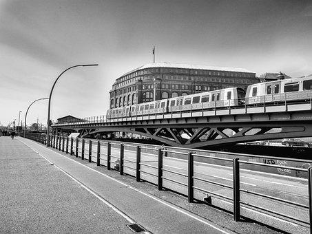 Hamburg, Tram, Bridge, Black And White, Seemed