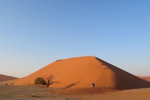 Dune, 45, Namibia, Namib, Desert, Sand, Red, Landscape