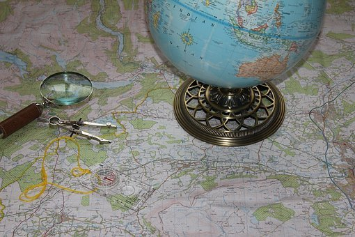 Map, Globe, Travel, Compass, Magnifying Glass