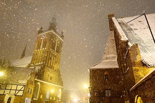 Snow, Blizzards, It's Snowing, Night, City, Light