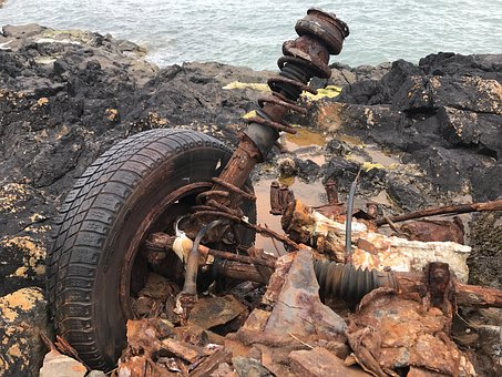 Car Wreck, Sea, Mature, Salt Water, Bank, Minerals