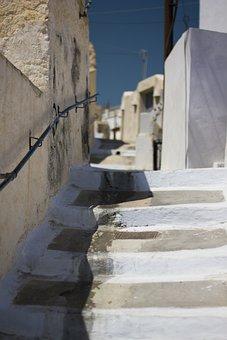 Santorini, Megalochori, Stairs, People, Greece