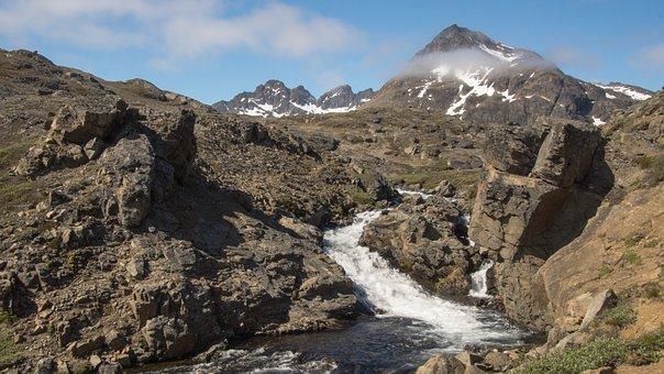 Mountain, Water Fall, River, Water, Splashing