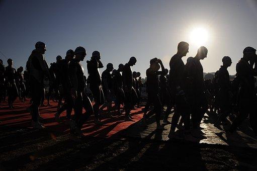 Ironman, Start, Race, Triathlon, Athletes, Walking