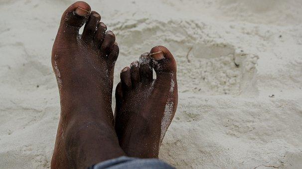 Legs, Beach, Black, Feet, Young, Man, Sand, Male