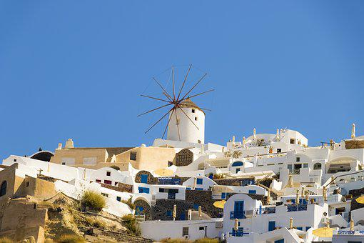 Santorini, Ia, Caldera, Island, Greece, Summer