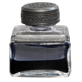 Inkwell, Ink, Blue, Leave, Ink Glass, Isolated, Cut Out