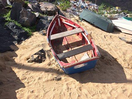 Boat, Old, Beach, Vessel, Wooden, Fishing
