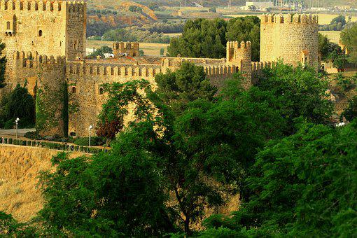 Toledo Spain, Wall, Medieval, Fortress, Towers, Bridge