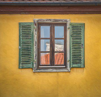 Window, Facade, Yellow, Green, Artistic, Oil Effect