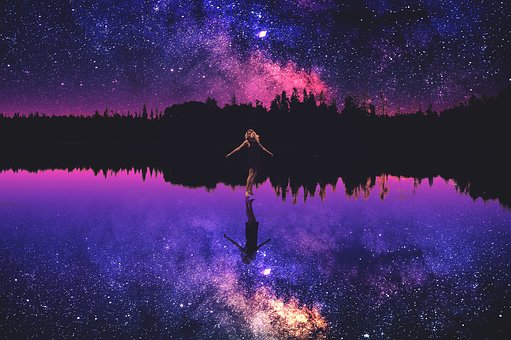Photoshop, Natural, Scenery, Daughter, The Night Sky