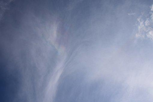 Soft Fire Rainbow In Clouds, Rare, Afternoon