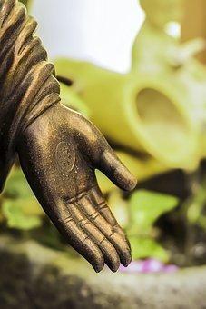 Statue, Hand, Stone, Copper, Symbol, Buddhism, Religion