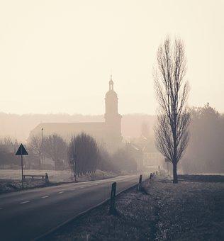 Church, Panorama, Road, Gateway, Village, Wiesentheid