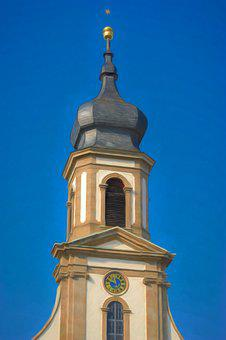 Church, Steeple, Sky, Catholic, Building, Clock Tower