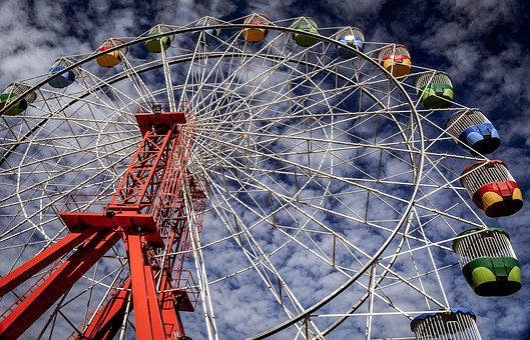Ferris, Wheel, Fun, Park, Fair, Carnival, Ride, Sky