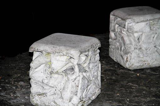 Concrete, Stone, White, Architecture, Pattern, Night