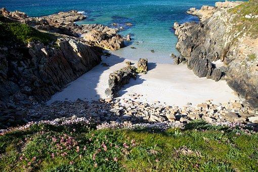 Beach, Sea, Cala, Sand, Waves, Shore, Rocks, Paradise