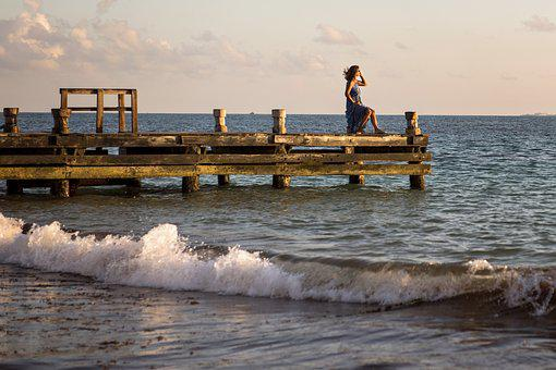 Ocean Waves, Dock, Beach, Tropical, Seascape, Shore