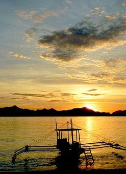 Sunset, Sunrise, Philippines, Island, Sea, Boat, Beach