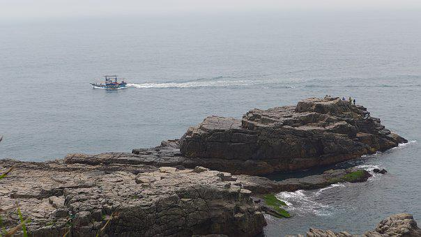 Rocky Shore, Boat, Landscape, Taiwan, Coastline, Ocean