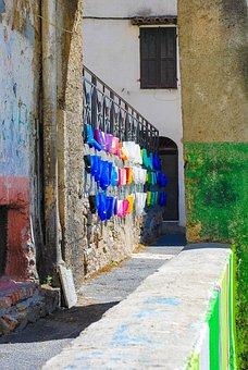 Sunny Day, Wall, Fresco, Italy, Summer, Building