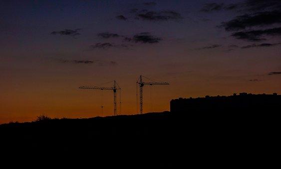 Construction, Crane, Night, Sky